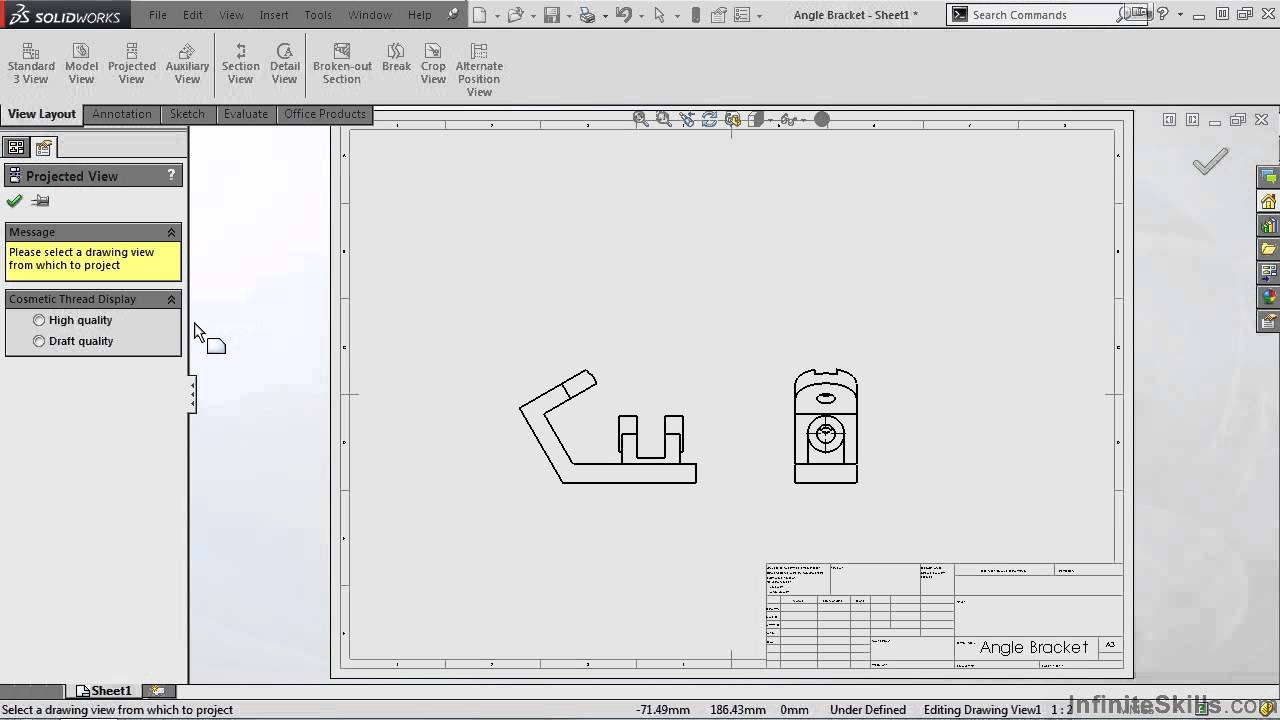 SolidWorks - Drawing Tools Tutorial | Projected View - YouTube