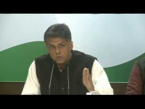AICC Press Briefing By Shri Manish Tewari at Congress HQ. Jan 2, 2017