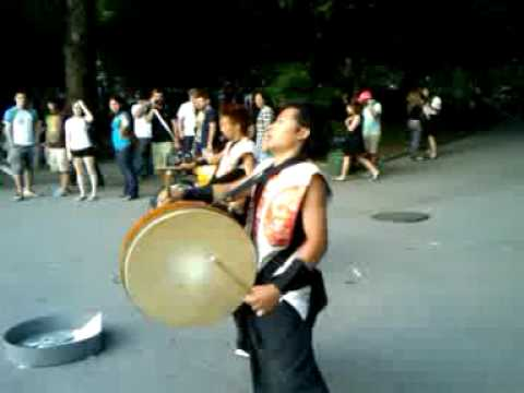 Japanese Bachi-Bachi performers in Washington Square, NYC