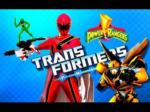 Игрушки для Мальчиков МОГУЧИЕ РЕЙНДЖЕРЫ Power Rangers и ТРАНСФОРМЕРЫ  Автоботы спасатели Zord BULDER
