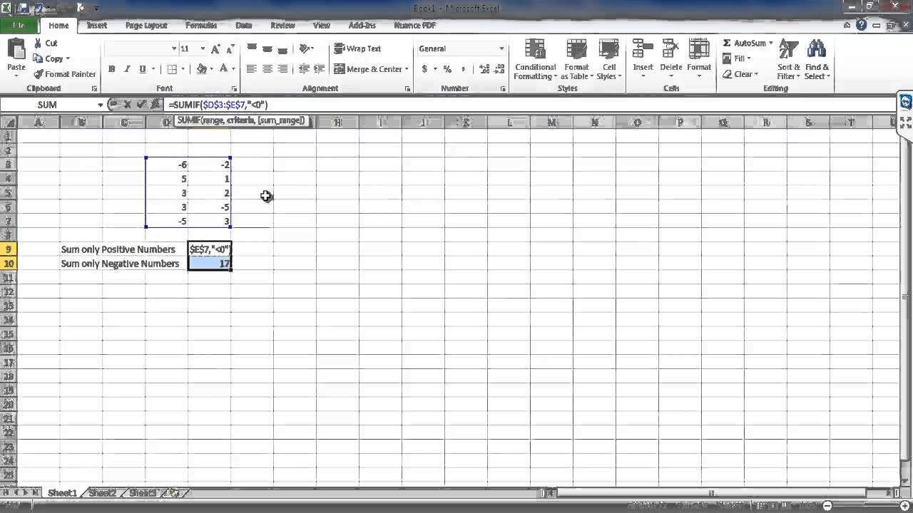 How to make an excel column negative - How To Sum Only Positive Or Negative Numbers In Excel