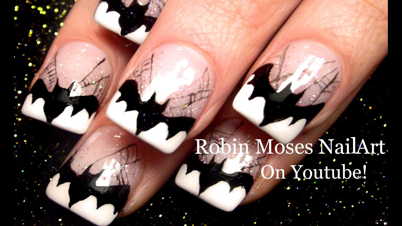 Batman Nails | DIY Halloween Bats Spider web Nail Art ...