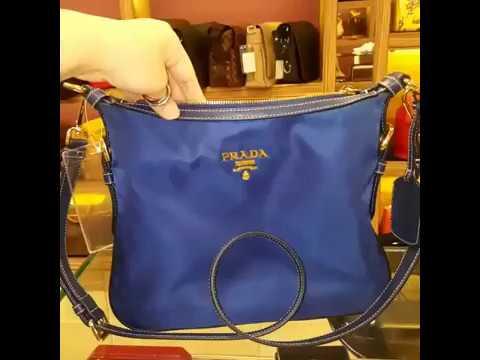 1d568ca1debf2 PRADA Tessuto Nylon Bluette Sling Bag - YouTube