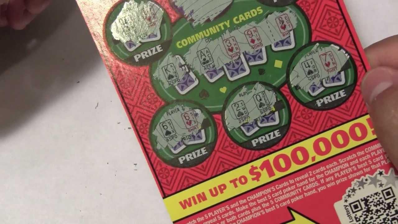 Poker lottery scratcher