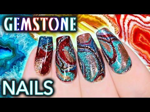 DIY Gemstone Nail Art - NO WATER WATERMARBLE!