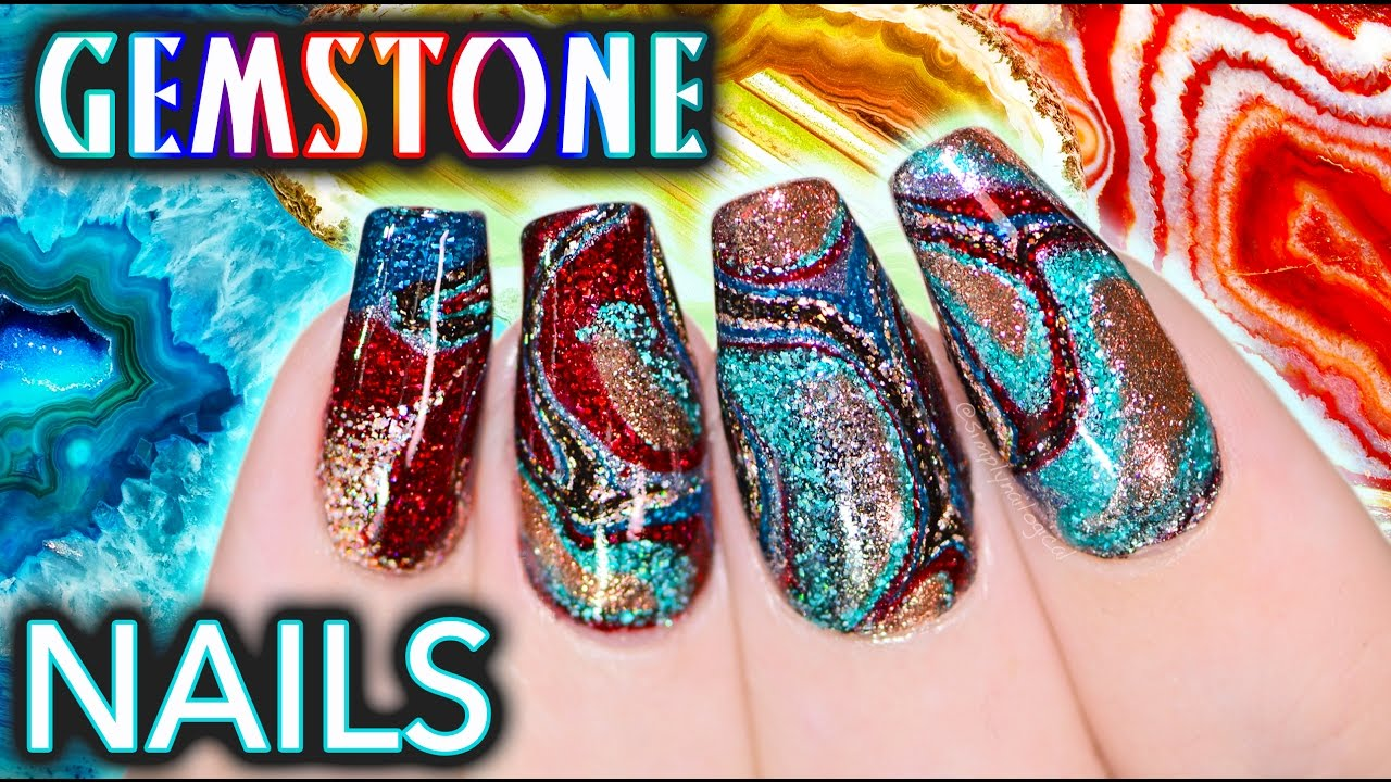 DIY Gemstone Nail Art - NO WATER WATERMARBLE! - YouTube