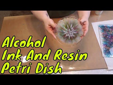 Resin & Alcohol Ink Petri Dish..Resin Art By