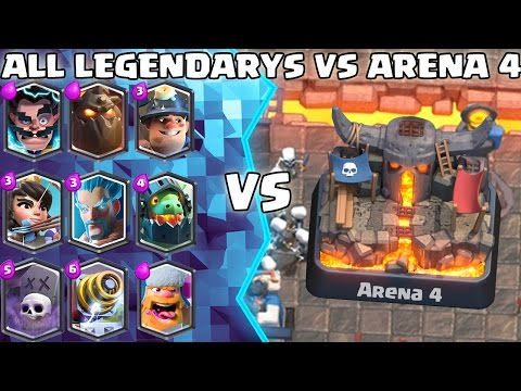 ALL Legendary Deck TROLLING Arena 4! - Clash Royale - (Drop Trolling #1)