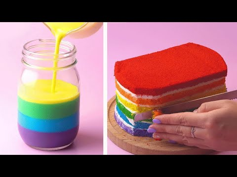 How to make the Best Ever Rainbow Cake For Party | Yummy Cake Decorating Ideas | Tasty Cake Recipe