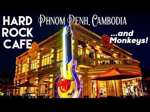 Phnom Penh Hard Rock Cafe... and Monkeys! (Exploring Near Wat Phnom... Cambodia)