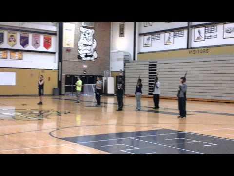 Harold L. Richards high school NJROTC Armed Exhibition practice