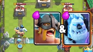 clash royale   elite barbarian deck with ice golem
