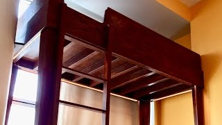 This is a single mattress loft bed for a kid. Wood- Red Oak Stain- Red oak (minwax) Satin Polyurethane on top of everything LED