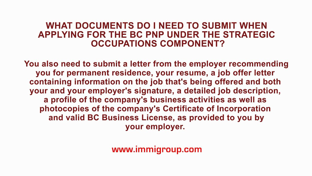 What docs do i need to submit when applying for the bc pnp under what docs do i need to submit when applying for the bc pnp under strategic occupations spiritdancerdesigns
