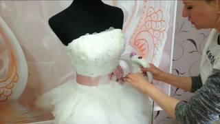 Отпаривание  свадебного платья. Хороший отпариватель из Китая.