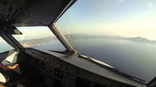 A320 Landing at Zakynthos Int'l Airport, Greece. Cockpit View.