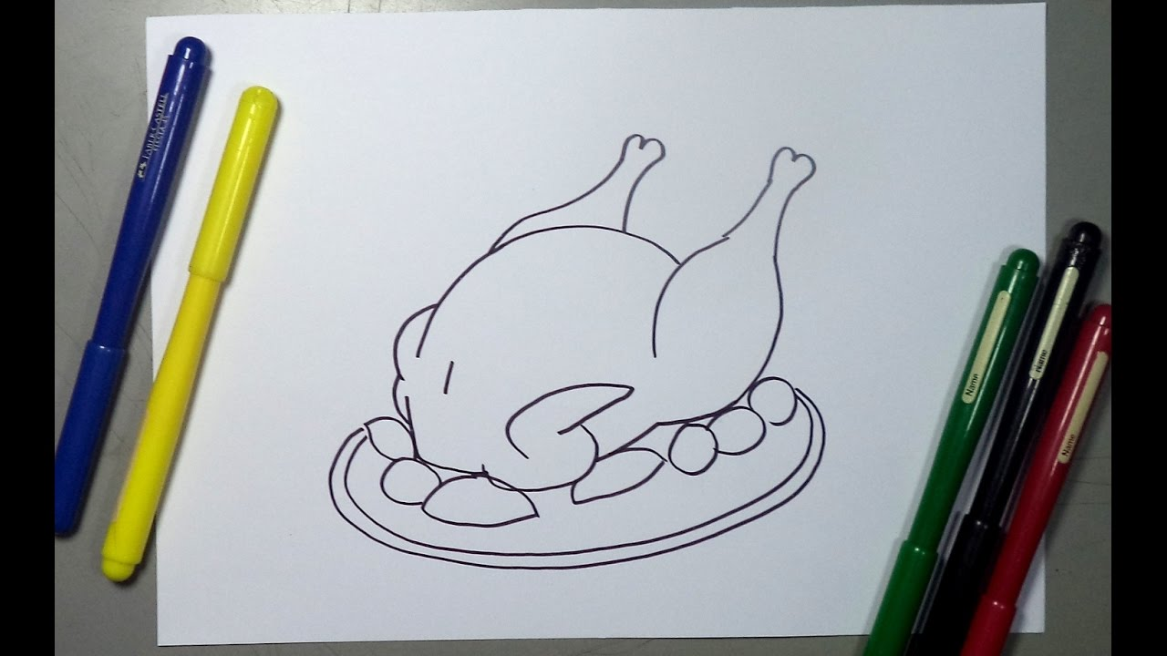 Cómo dibujar un pollo asado paso a paso - Baked Chicken drawing ...