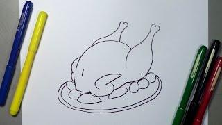 Cómo dibujar un pollo asado paso a paso - Baked Chicken drawing