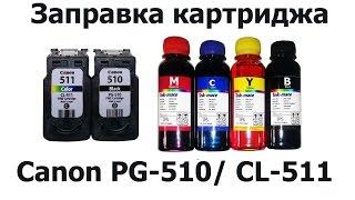 как заправить картриджи Canon PG-510 и CL-511 для принтеров MP250, MP280, MP230 и IP2700