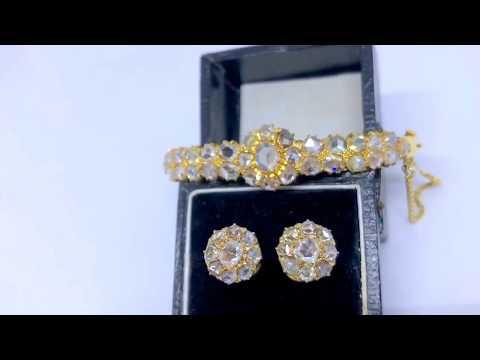 Antique 20k Rose Cut Diamond Bangle & Earstuds, 20K Yellow Gold
