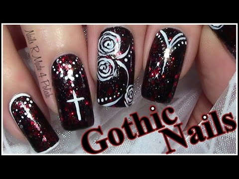 gothic nails halloween nageldesign mix match nail art design tutorial youtube. Black Bedroom Furniture Sets. Home Design Ideas