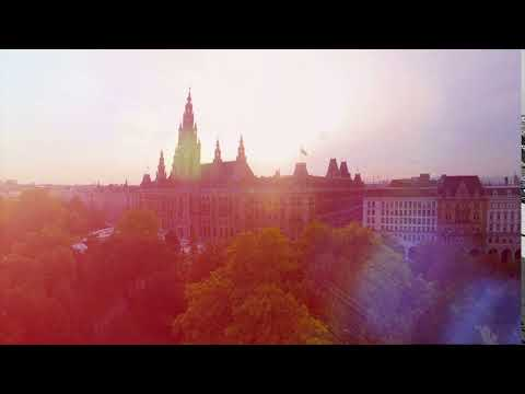 Rathaus of Vienna aerial shot, beautiful City Council building in Austria capital, mayor seat, gover