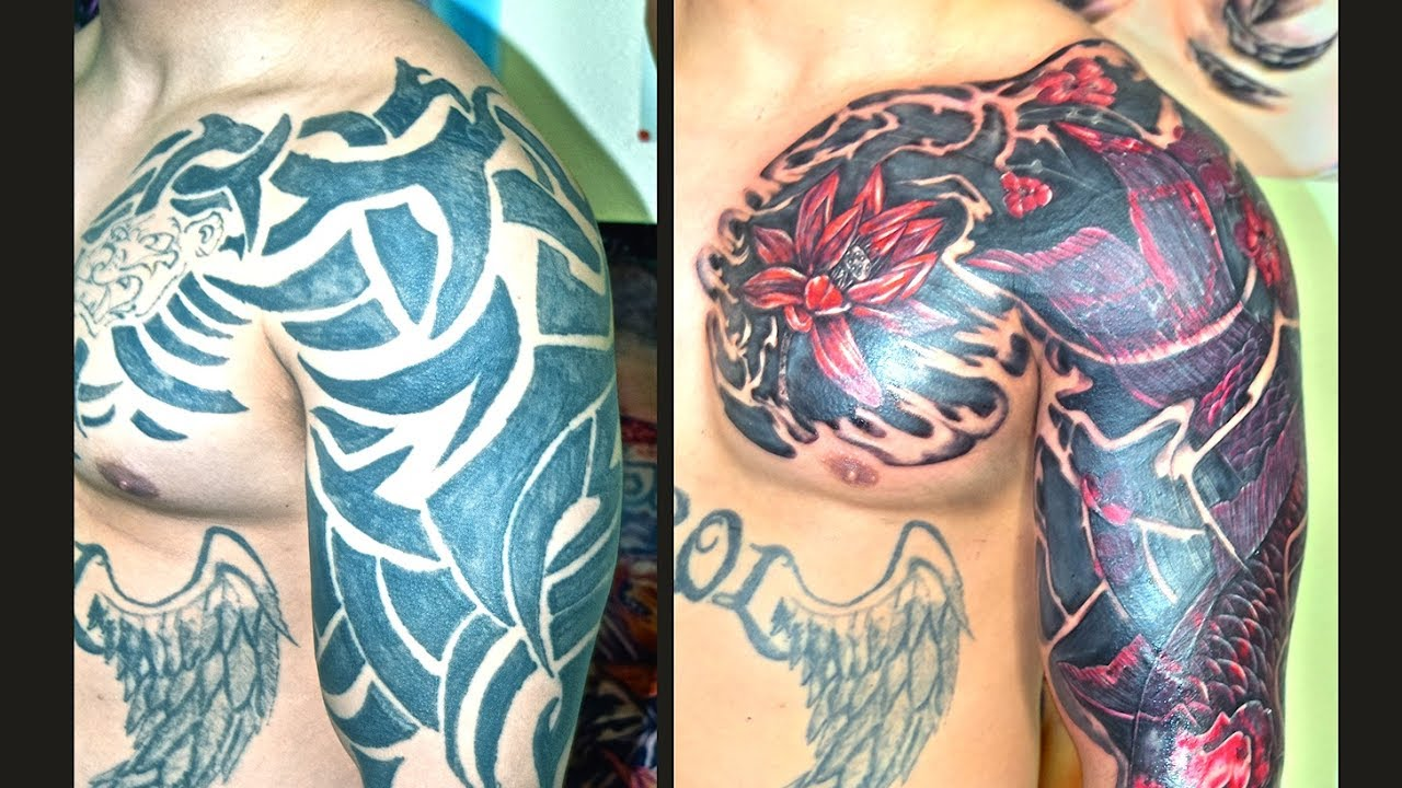 cover up traibal tattoo ( with red koi and flowerws) youtubecover up traibal tattoo ( with red koi and flowerws)