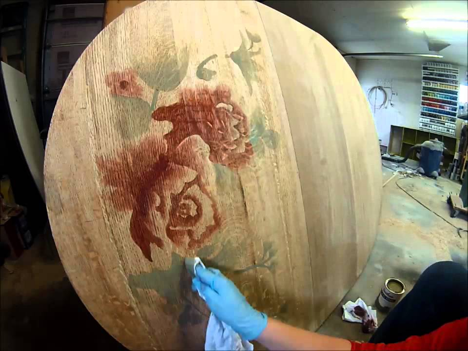 Decorative Wood Staining Rose On Table Top By Sawdust And