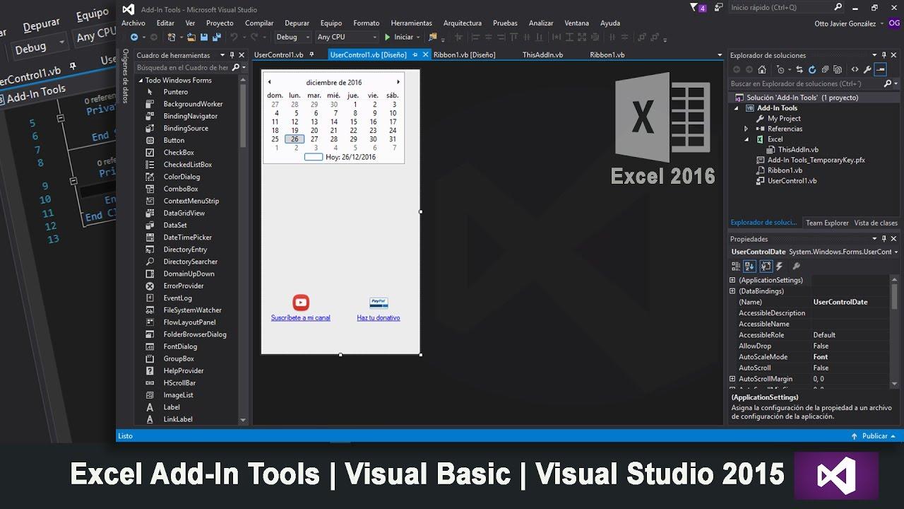 Excel Add-In Tools | Visual Basic | Visual Studio 2015