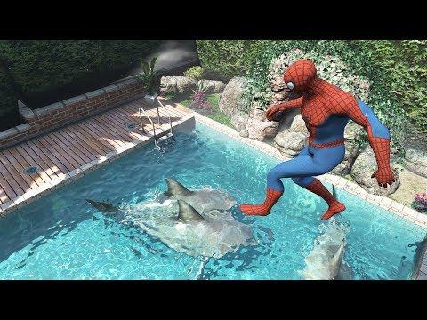 GTA 5 Water Ragdolls | SPIDERMAN Jumps/Fails #19 (Euphoria Physics | Funny Moments)