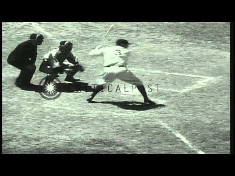 """First ever Major League Baseball All Star Game: George Herman """"Babe"""" Ruth smashes...HD Stock Footage"""
