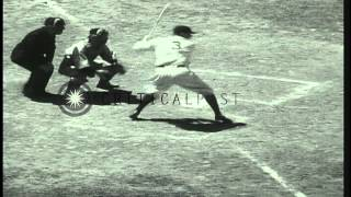 "First ever Major League Baseball All Star Game: George Herman ""Babe"" Ruth smashes...HD Stock Footage"