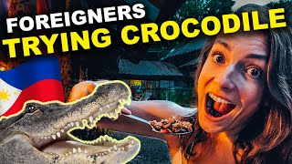 FOREIGNERS react to CROCODILE SISIG in Davao - Philippines Vlog