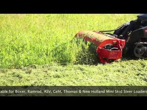 Sidewinder Mini Skid Steer Loader Flail Mower Youtube
