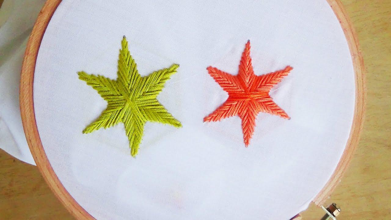 Hand embroidery star stitch