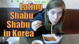 Eating Shabu-shabu (Korean hot pot) at a Korean restaurant in Yongin, Korea