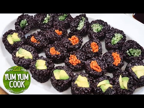 Vegan Sushi Roll with Black Rice | 3 Best Ideas about Veggie Sushi Roll | YumYumCook