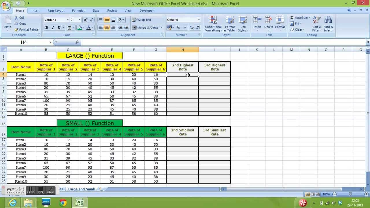 Use of LARGE Function and SMALL Function in Excel - YouTube