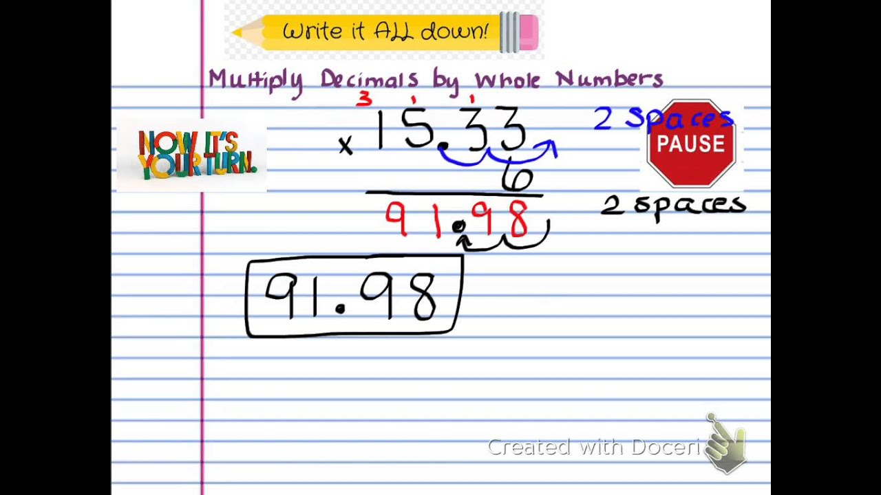 Worksheet How To Multiply A Whole Number By A Decimal multiply decimals by whole numbers youtube numbers