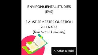 1st Semester EVS Question Paper 2017 Kazi Nazrul University.