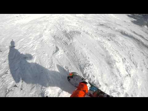 GOPR0 HD Helmet Cam February 2nd Snowboarding at Fernie BC, crazy wipeout from top of polar peak