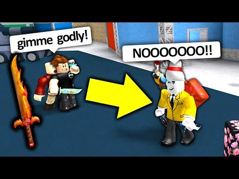 HE BEAT ME FOR MY GODLY KNIFE!! (Roblox Murder Mystery 2)