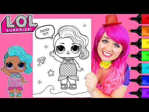 Coloring LOL Surprise Splash Queen GLITTER Coloring Page Prismacolor Markers | KiMMi THE CLOWN
