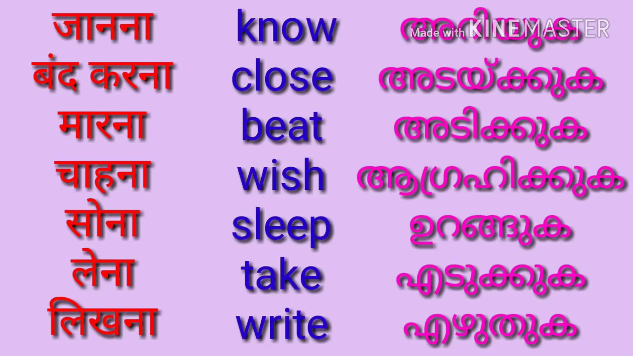 Verbs or action words in English, Hindi and Malayalam  How to study these  verb forms |part 1|