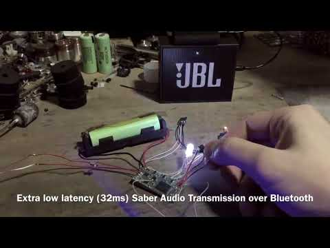 Bluetooth low-latency lightsaber sound transmission