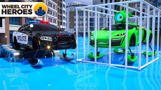 Police Car Sergeant Lucas catching the Sport Car Sliding on Ice - Wheel City Heroes (WCH) Cartoon