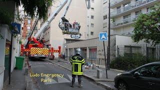 Pompiers de Paris incendie appart . Paris Fire Dept on scene, apartment fire