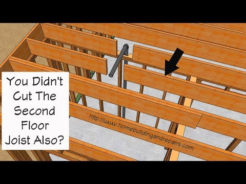 How To Repair Second Cut Floor Joist Next To Wall - Plumbing Pipe Problems