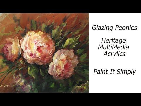 Glazing Peonies with Heritage Acrylics
