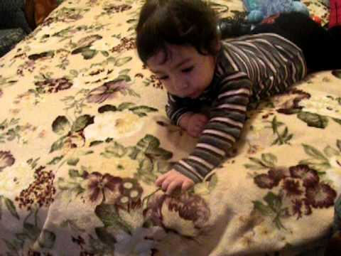 Funny Video Little Baby Andrew (11 months old) Playing with the Cat Cute  Baby & Kitten Viral